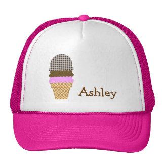 Ice Cream Cone on Bistre Brown Gingham Trucker Hats