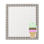 Ice Cream Cone on Bistre Brown Gingham Notepad