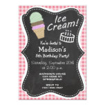 "Ice Cream Cone on Blush Pink Gingham 5"" X 7"" Invitation Card"
