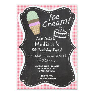 Ice Cream Cone on Blush Pink Gingham 5x7 Paper Invitation Card