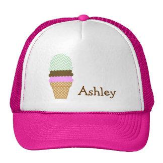 Ice Cream Cone on Celadon Chevron Mesh Hats