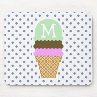 Ice Cream Cone on Cool Grey Polka Dots Mouse Pad