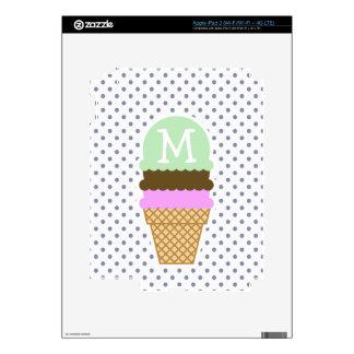 Ice Cream Cone on Cool Grey Polka Dots Decals For iPad 3