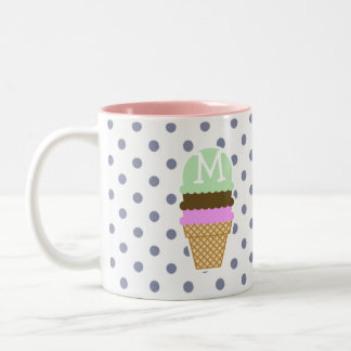 Ice Cream Cone on Cool Grey Polka Dots Two-Tone Coffee Mug
