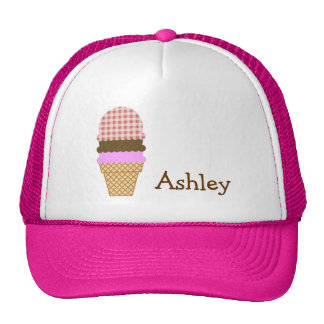 Ice Cream Cone on Dark Salmon Gingham Trucker Hat