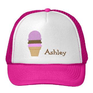 Ice Cream Cone on Deep Fuchsia Gingham Trucker Hats