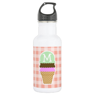 Ice Cream Cone on Deep Peach Gingham Water Bottle