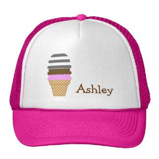 Ice Cream Cone on Dim Gray Horizontal Stripes Trucker Hats