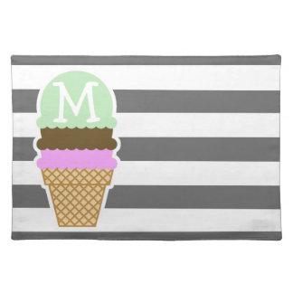 Ice Cream Cone on Dim Gray Horizontal Stripes Place Mat