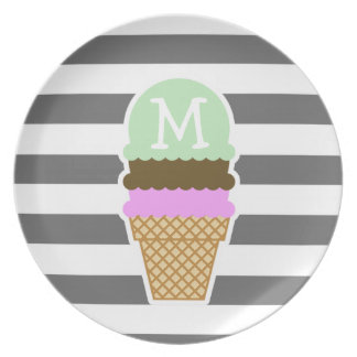 Ice Cream Cone on Dim Gray Horizontal Stripes Plate