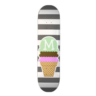 Ice Cream Cone on Dim Gray Horizontal Stripes Skateboard