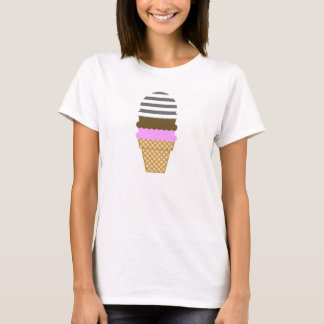 Ice Cream Cone on Dim Gray Horizontal Stripes T-Shirt