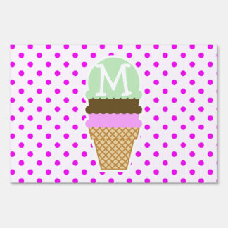 Ice Cream Cone on Fuchsia Polka Dots Lawn Signs