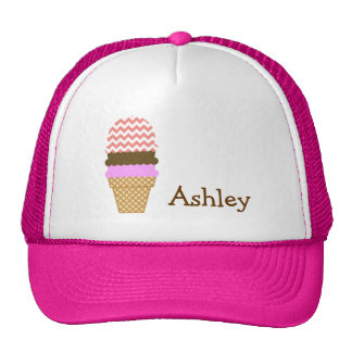Ice Cream Cone on Light Coral Chevron Stripes Mesh Hats