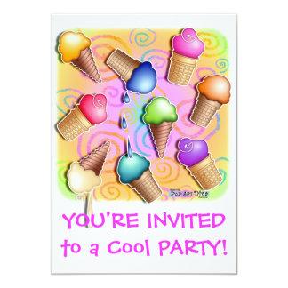"""Ice Cream Cone Party Invitation 5"""" X 7"""" Invitation Card"""