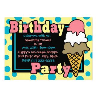 Ice Cream Cone Party Personalized Announcement