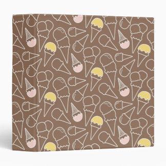 Ice Cream Cone Pattern on Brown Binders
