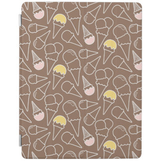 Ice Cream Cone Pattern on Brown iPad Cover