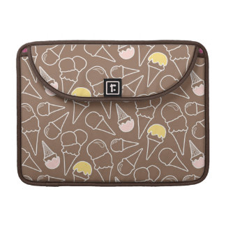 Ice Cream Cone Pattern on Brown Sleeves For MacBook Pro