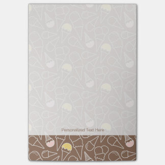 Ice Cream Cone Pattern on Brown Post-it® Notes