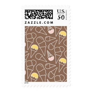 Ice Cream Cone Pattern on Brown Postage