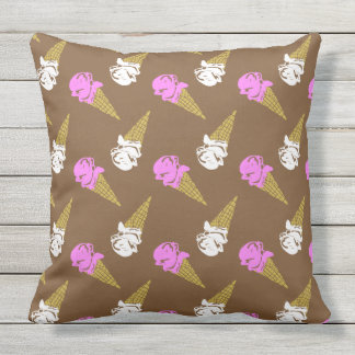 Ice Cream Cone Patterned Outdoor Pillow
