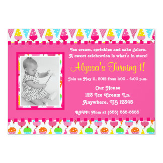 Ice Cream Cone Pink Girl Photo Birthday Invitation