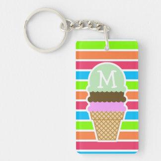 Ice Cream Cone; Retro Neon Rainbow Keychain