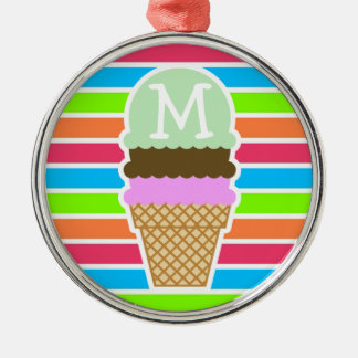 Ice Cream Cone; Retro Neon Rainbow Christmas Ornaments