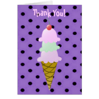 Ice Cream Cone Thank You Note Cards