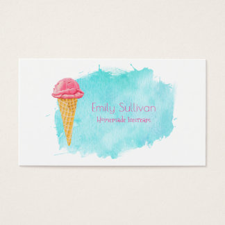 Ice Cream Cone With A Blue Paint Splatter Business Card