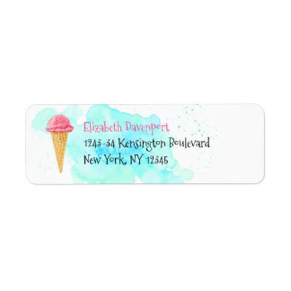Ice Cream Cone With A Blue Paint Splatter Label