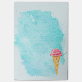 Ice Cream Cone With A Blue Paint Splatter Post-it Notes
