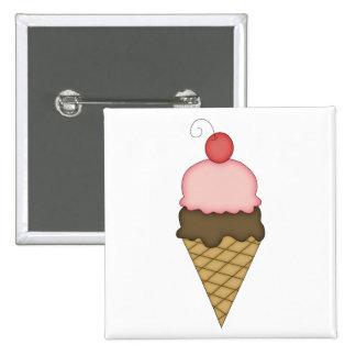 Ice Cream Cone with Cherry #4 Button
