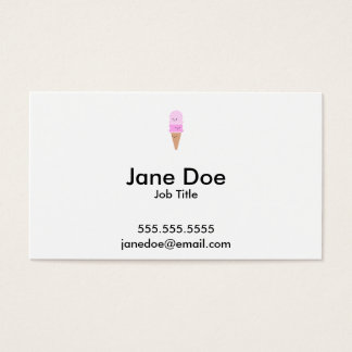 Ice Cream Cone with Cute Faces - Kawaii Pink Business Card