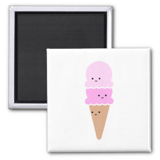 Ice Cream Cone with Cute Faces - Kawaii Pink Magnet