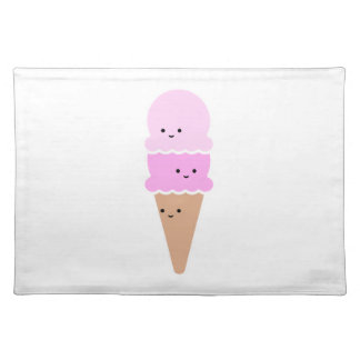 Ice Cream Cone with Cute Faces - Kawaii Pink Placemat