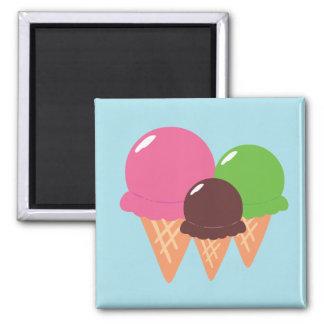 Ice Cream Cones 2 Inch Square Magnet