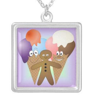 """Ice Cream Cones and Gingerbread Man"" Pendant"