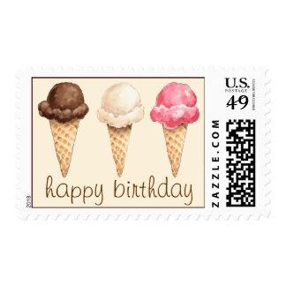 Ice Cream Cones Happy Birthday Postage Stamps