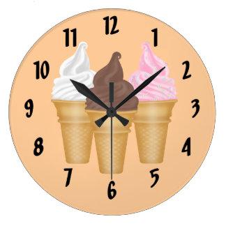 Ice Cream Cones Large Clock