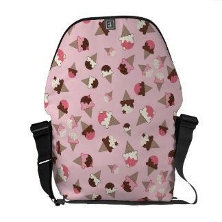 Ice Cream Cones on Pale Pink Courier Bag