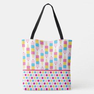 Ice Cream Cones & Polka Dots Tote Bag