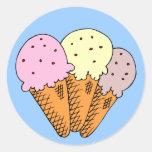 Ice cream cones round stickers