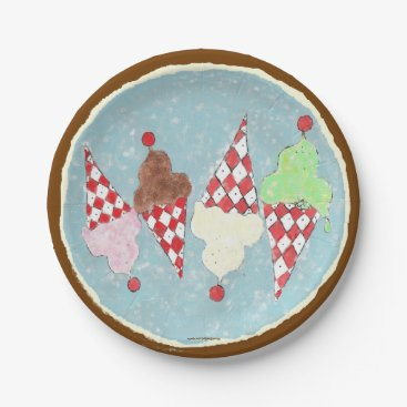 Beach Themed Ice Cream Cookie Crumble Paper Plate