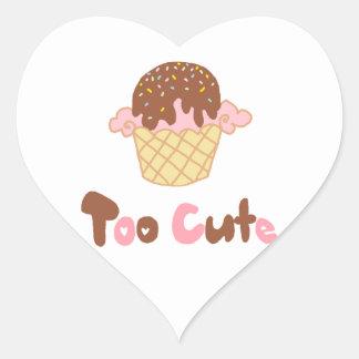Ice Cream Cupcake Heart Sticker