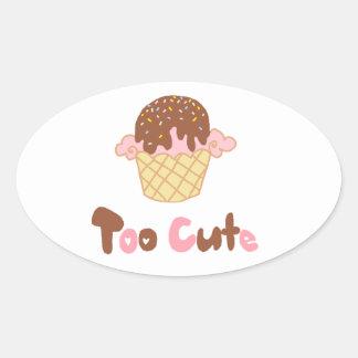 Ice Cream Cupcake Oval Sticker