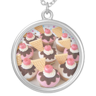 ice cream cupcakes silver plated necklace
