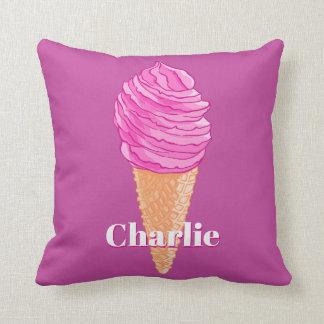 Ice Cream custom name & color throw pillows
