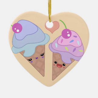 Ice Cream Cuties Double-Sided Heart Ceramic Christmas Ornament